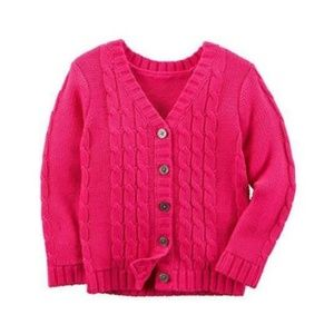 Carter's Girls Button Cardigan Sweater Cable Knit